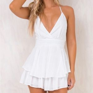 princess polly theodora playsuit in white